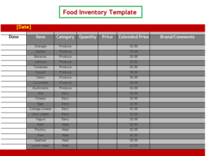 a food inventory template is an archive that stores the food items