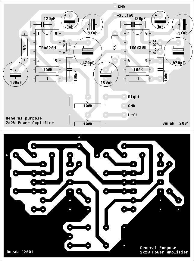 pcb of power amplifier mini 2w 2w by tba820m mini electronics rh pinterest com
