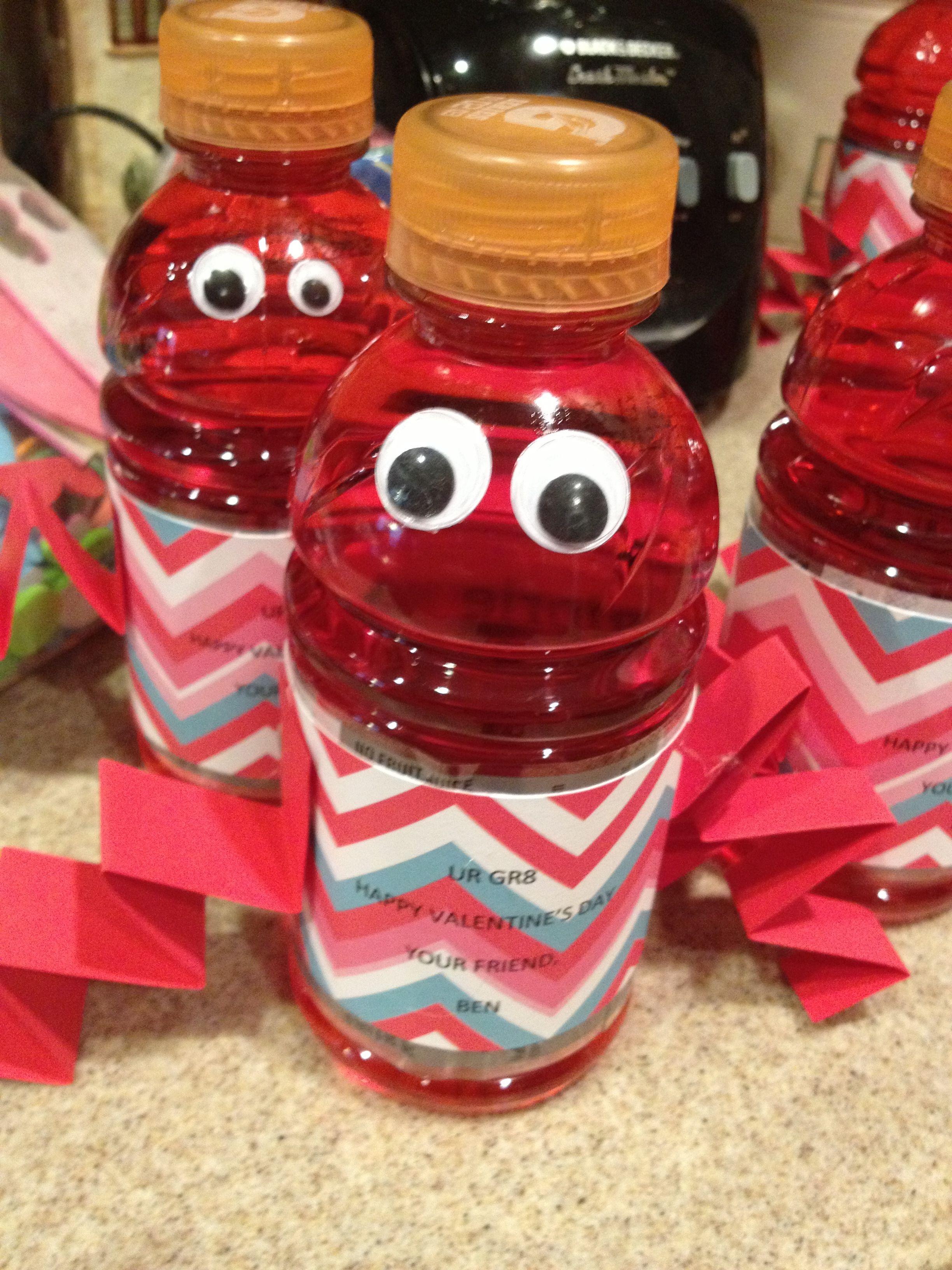 Fun Valentine Robots Bottles Of Red Gatorade