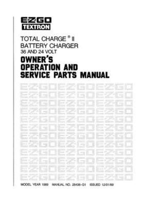 EZGO 25436G1 1989 Owner's Operation and Service Manual for