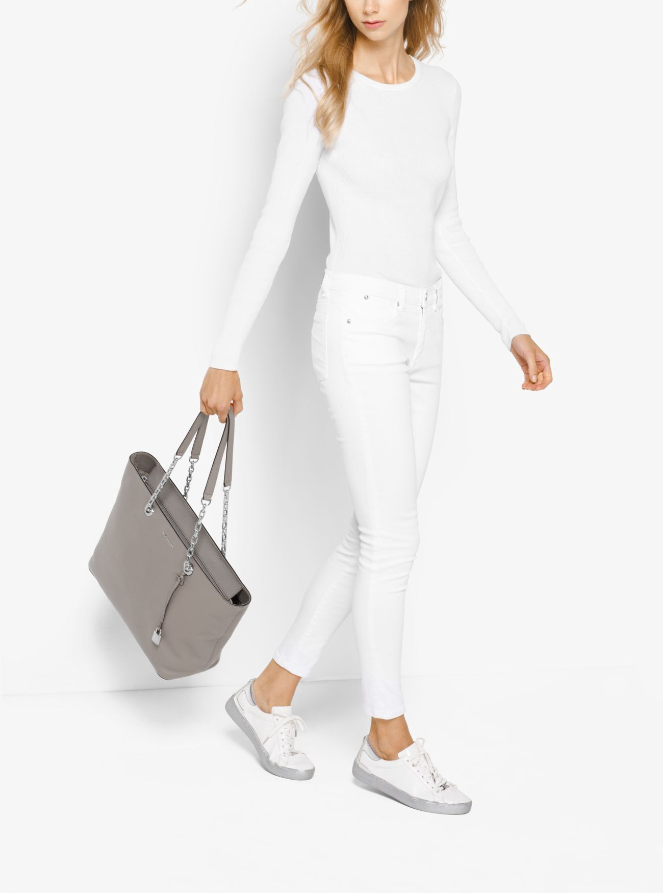 99305fb50e11 MICHAEL KORS Mercer Chain-Link Leather Tote. #michaelkors #bags #leather  #hand bags #polyester #tote #lining #