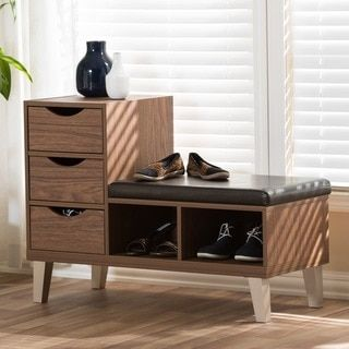 Arielle Modern 3 Drawer Shoe Storage Padded Seating Bench   Free Shipping  Today   Overstock