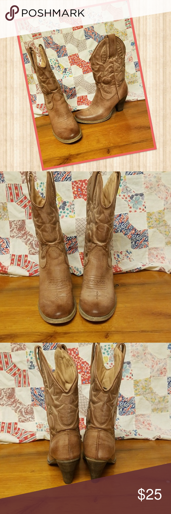 Cowgirl boots Adorable tan cowgirl boots in gently used condition. Only 2 minor flaws as shown in pictures 5 and 6. The chip on the heel can be easily fixed with a little super glue. Other than that they are in great condition.  Brand is (very volatile) listed under free people for vews. Free People Shoes Heeled Boots