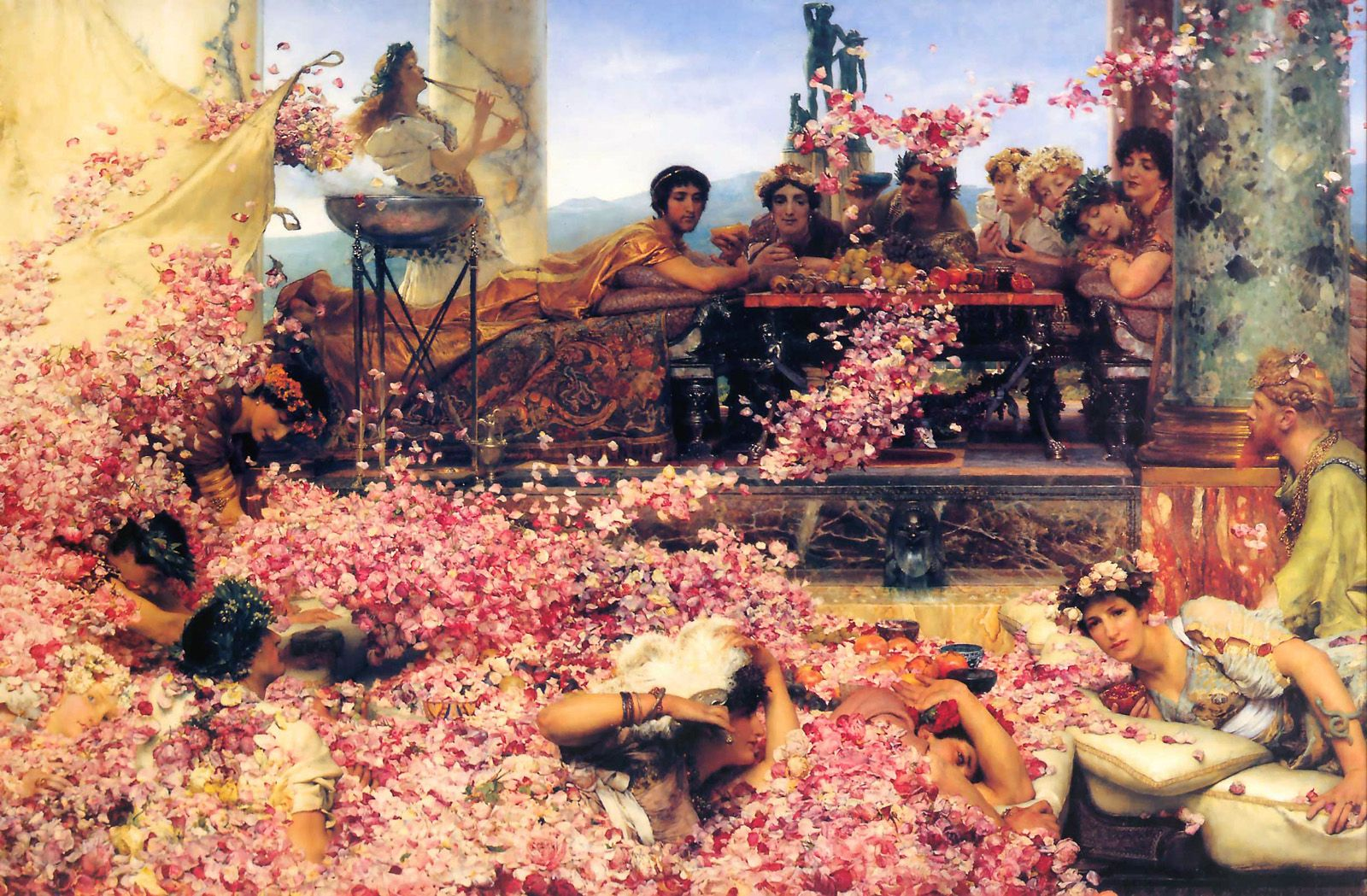 The Roses of Heliogabalus (1888) by Lawrence Alma-Tadema ~ As it was painted during the winter, Tadema arranged to have roses sent weekly from the French Riviera for four months to ensure the accuracy of each petal.