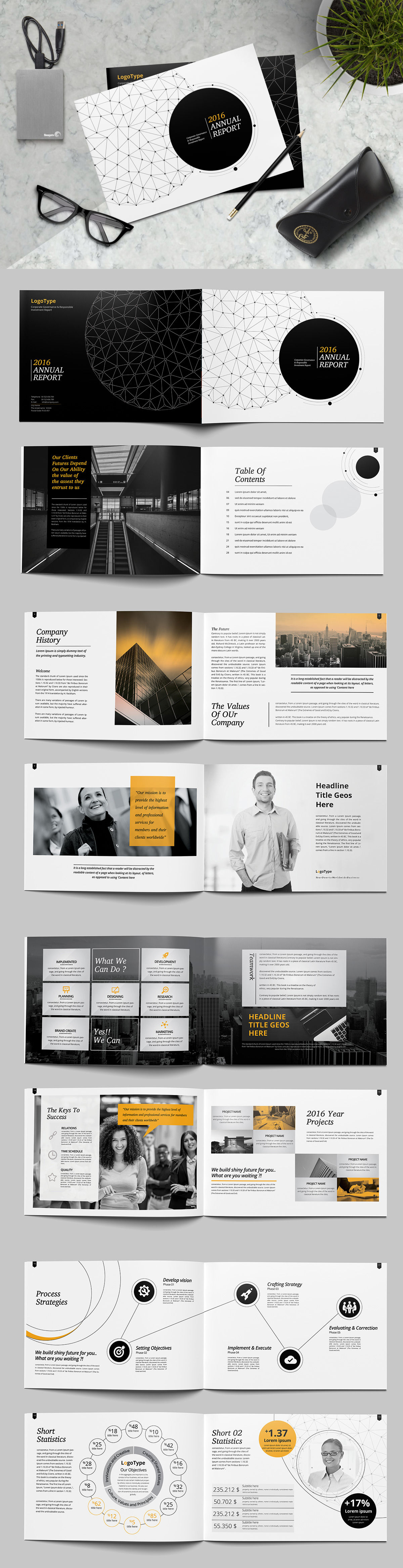 Landscape Annual Report Brochure Template InDesign INDD   Design ...