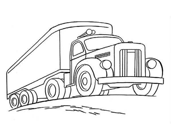 Trailer Truck Climbing Road Coloring Page : Kids Play ...