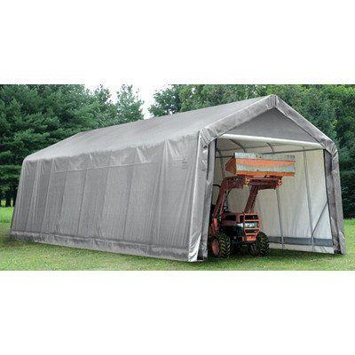 Shelterlogic 15 x 24 x 12 ft peak frame garage shelter for Outdoor storage shelter