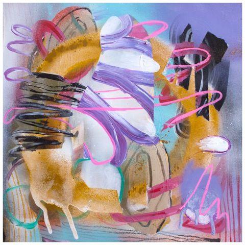 """DREAMER, 2012, Fiona Ackerman, mixed-media on board, 14"""" x 14"""""""