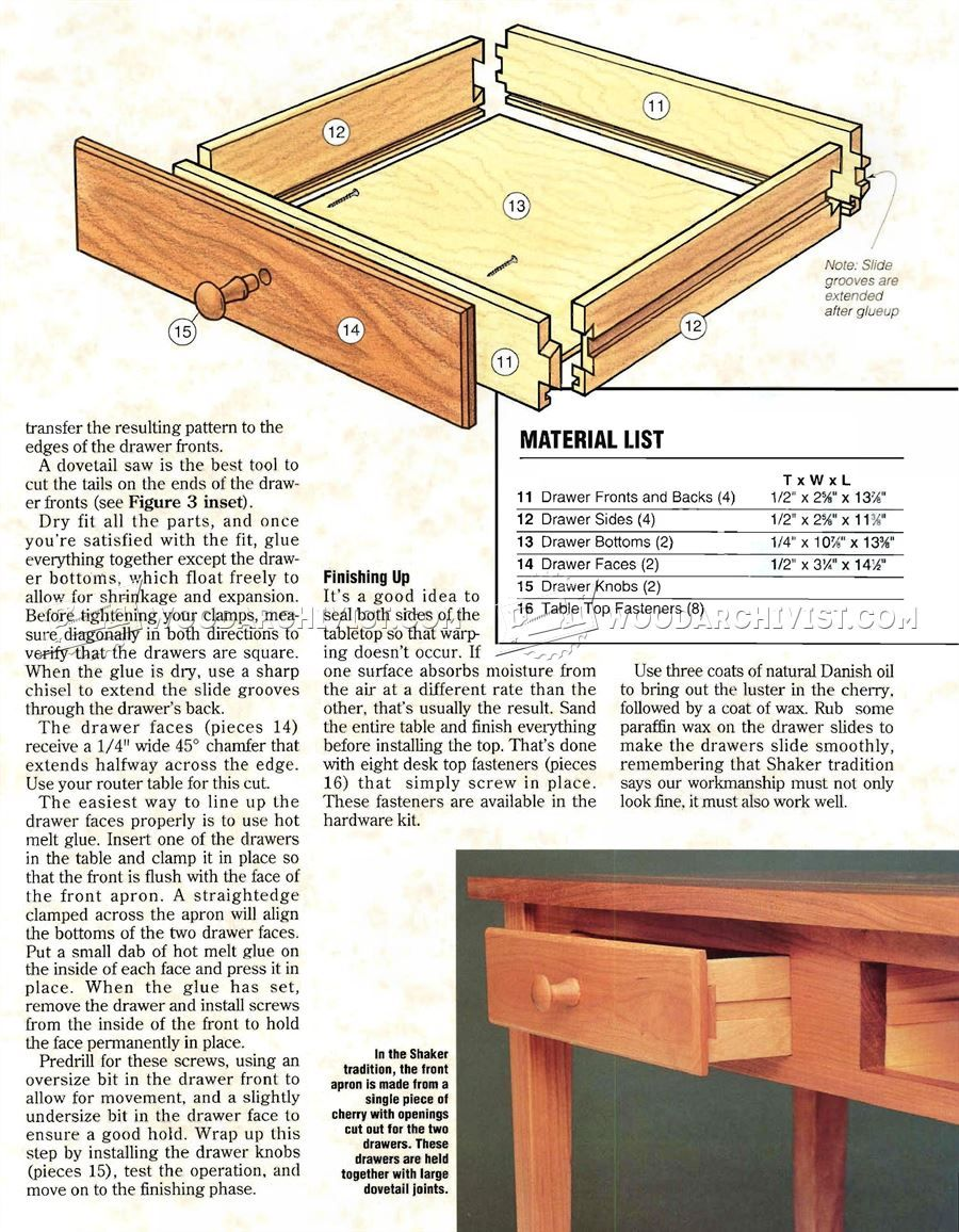 Shaker Hall Table Plans   Furniture Plans
