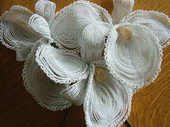 Wedding bouquet handmade beaded flowers