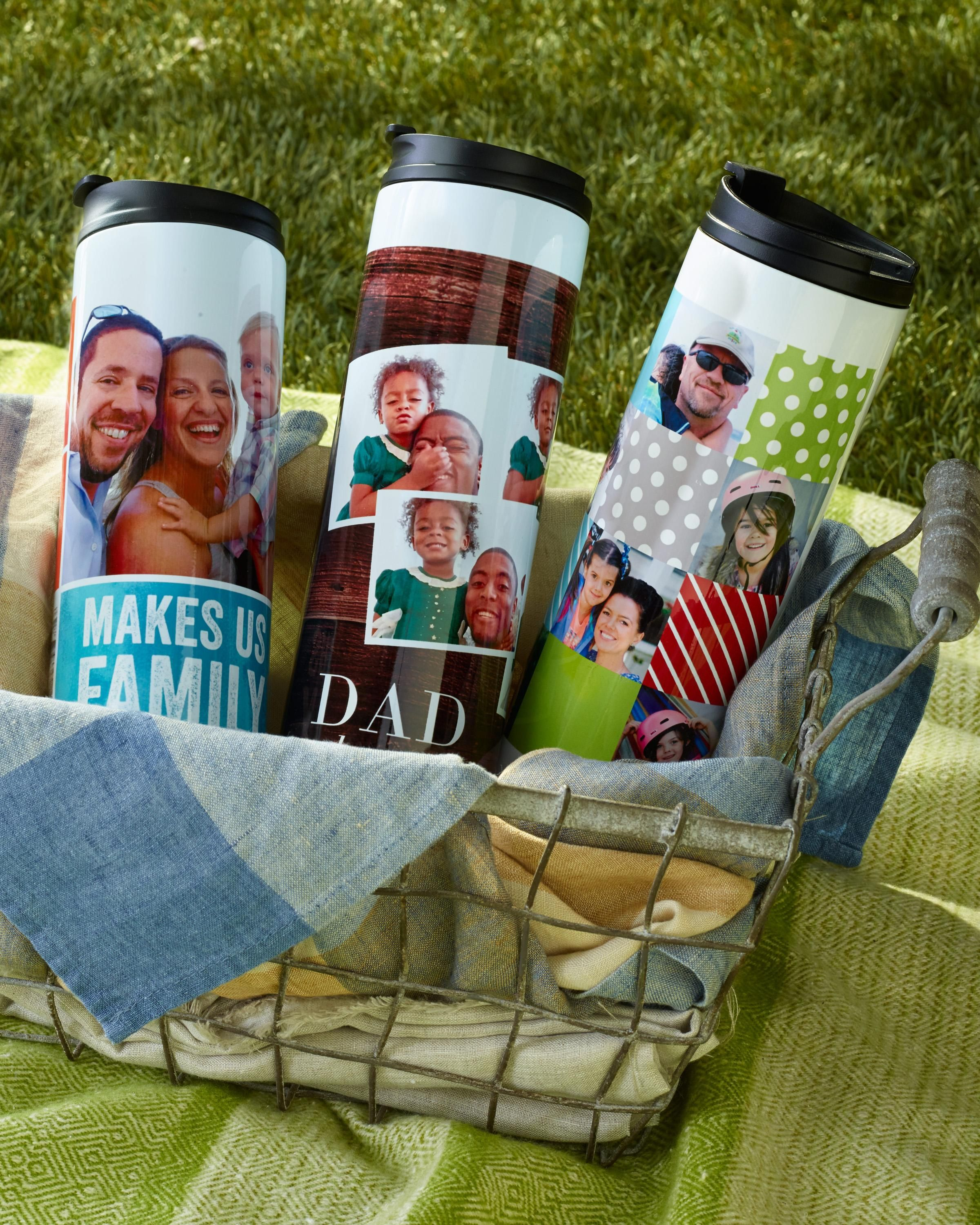 Is Dad on the go? Personalize a stainless steel travel mug for him this Father's Day so you're with him wherever you go. | Shutterfly