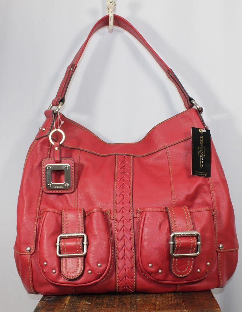 Tignanello Red Leather Satchel Hobo Shoulder Handbag Hobosatchel