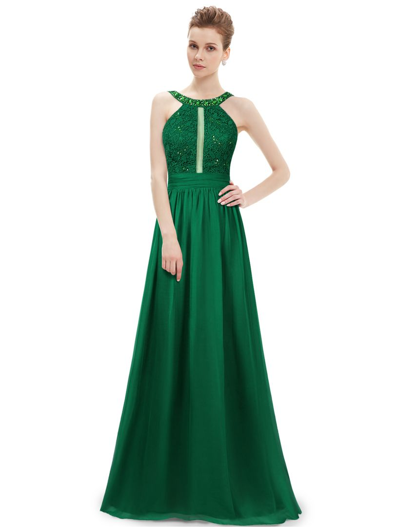 Green dress with lace overlay  Green Rhinestone Embellished Lace Overlay Ruffle Maxi Dress  moda