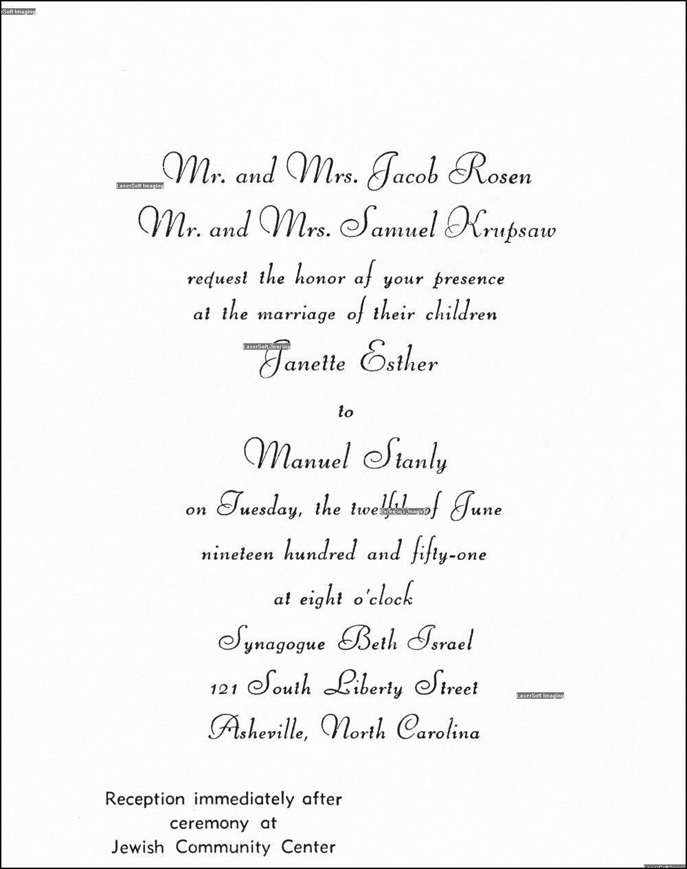 Jewish Wedding Invitations Wording