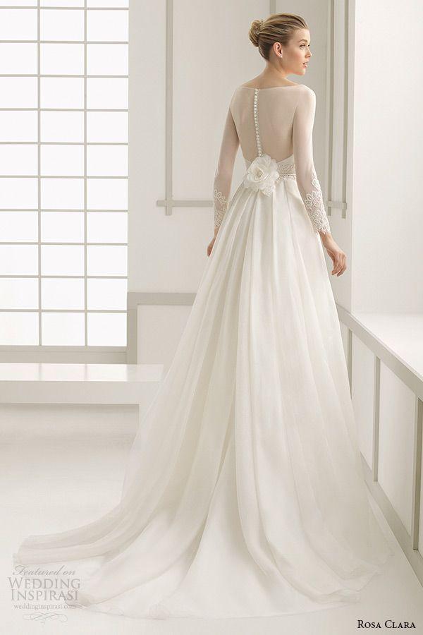Rosa Clara 2016 Bridal Collection Bateau Neckline Illusion Long Sleeves A Line Wedding Dress Deba Back