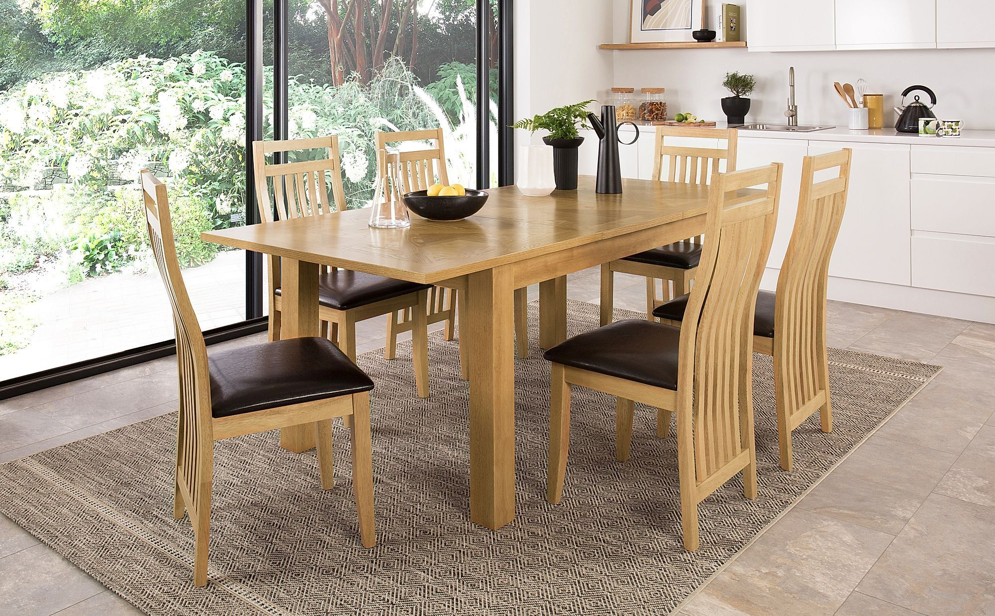 Madison 150 200cm Oak Extending Dining Table With 6 Bali Chairs