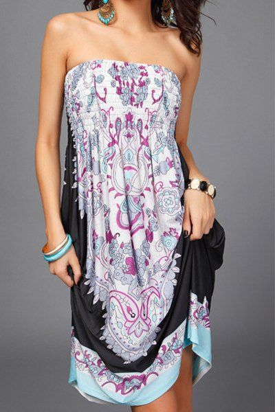 Bohemian Sleeveless Strapless Floral Print Women's Dress