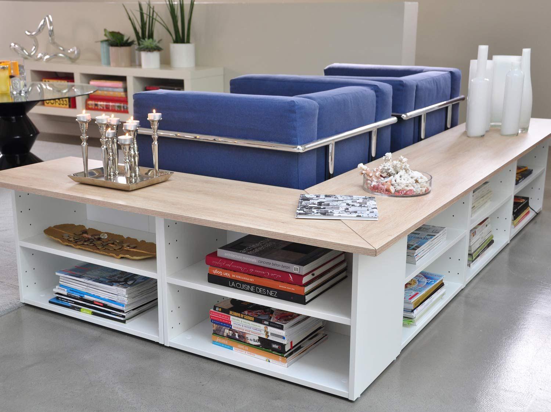 Rangement derri re canap meubles deco salon living - Rangement salon ...