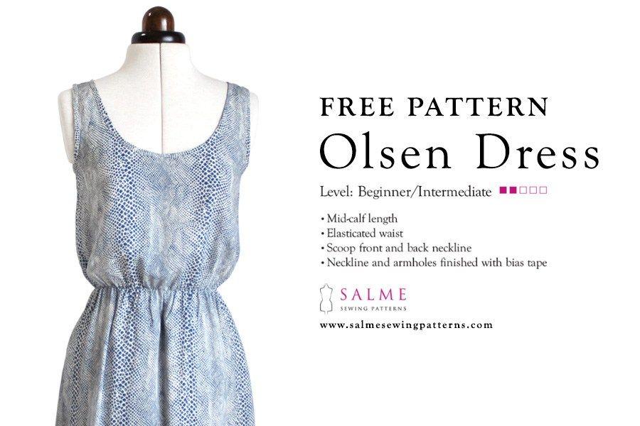 Olsen Dress by Salme: cartamodello gratuito di abito estivo con elastico in vita | Appeso a un filo