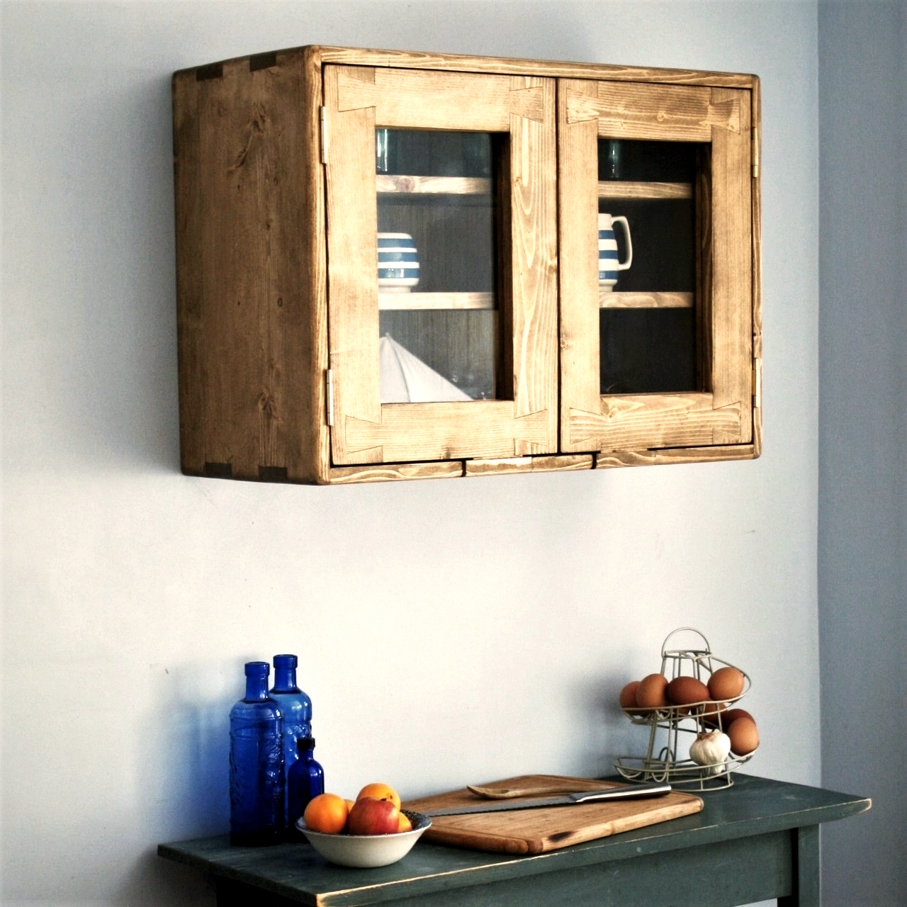 large kitchen wall cabinet eco solid wood 2 glass doors