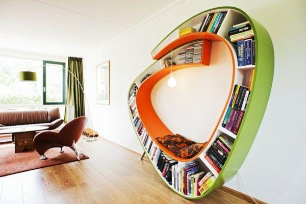 praktische Leseecke einrichten Bücherregal | gefällt mir sehr gut ...
