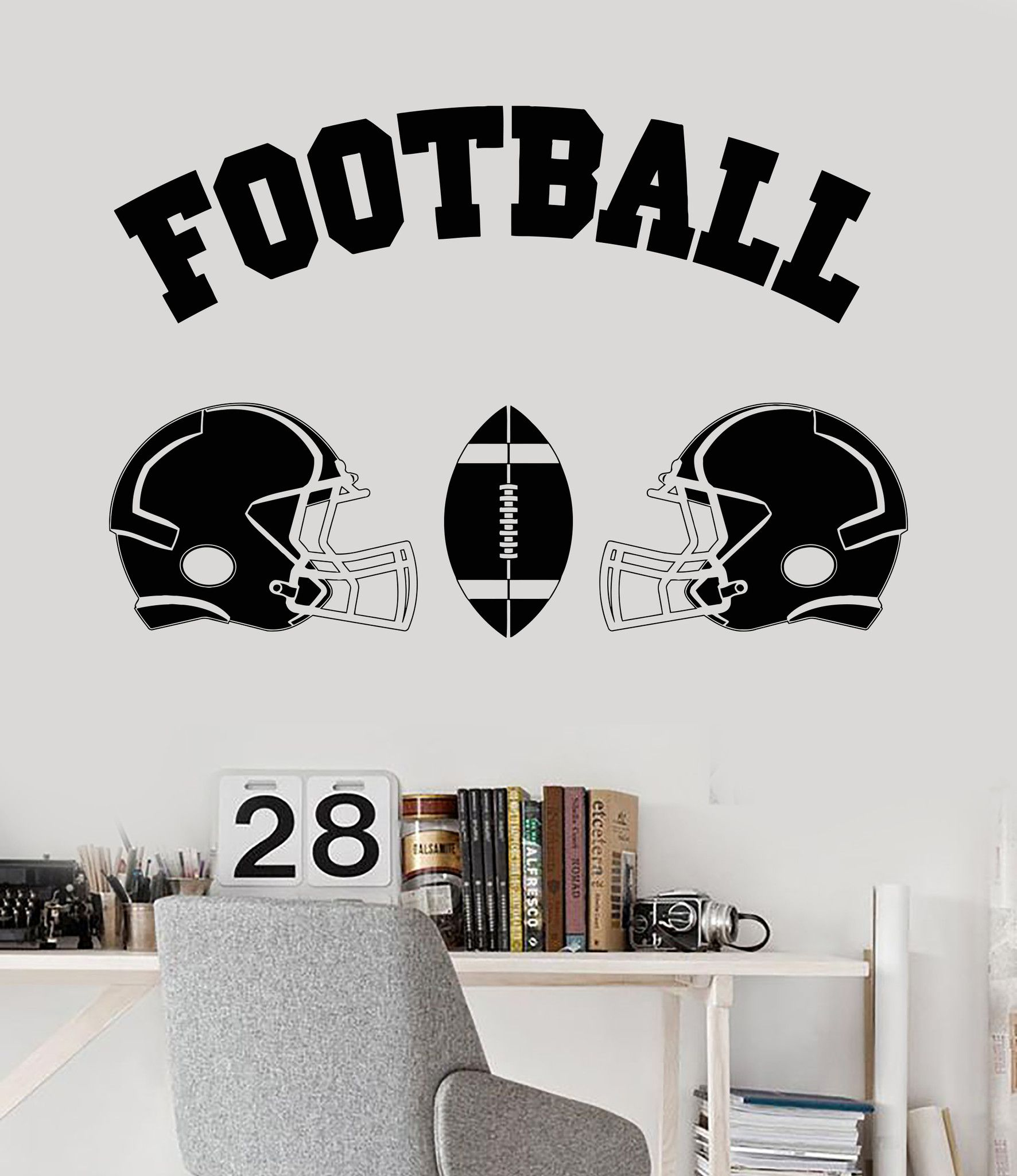 Childrens Football Bedroom Ideas: Vinyl Wall Decal Football Helmet Ball Boy Room Sports