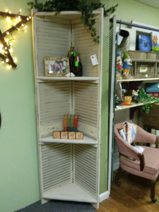 Corner Shelf Made From Old Bi Fold Louver Door Corner Shelves Louvered Door Ideas Shelves
