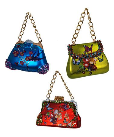 Another Great Find On Zulily Glass Purse Ornament Set Of Three Zulilyfinds