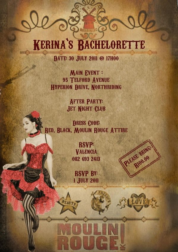 Moulin Rouge Cancan bachelorette party invitations...what a ...