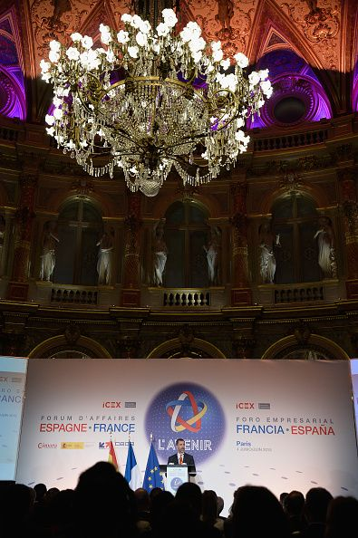 King Felipe VI of Spain speaks onstage during the Closing of the Enterprise Forum by His Majesty the King Felipe VI of Spain and Her Majesty the...