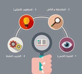 تشكل الأطراف الاربعه سلسله متسلسلة من مراحل التعلم تبداء من التجربة الملموسه مرورا بالملاحظة والتأمل وصولا الى المفاهي Learning Activities Learning Infographic