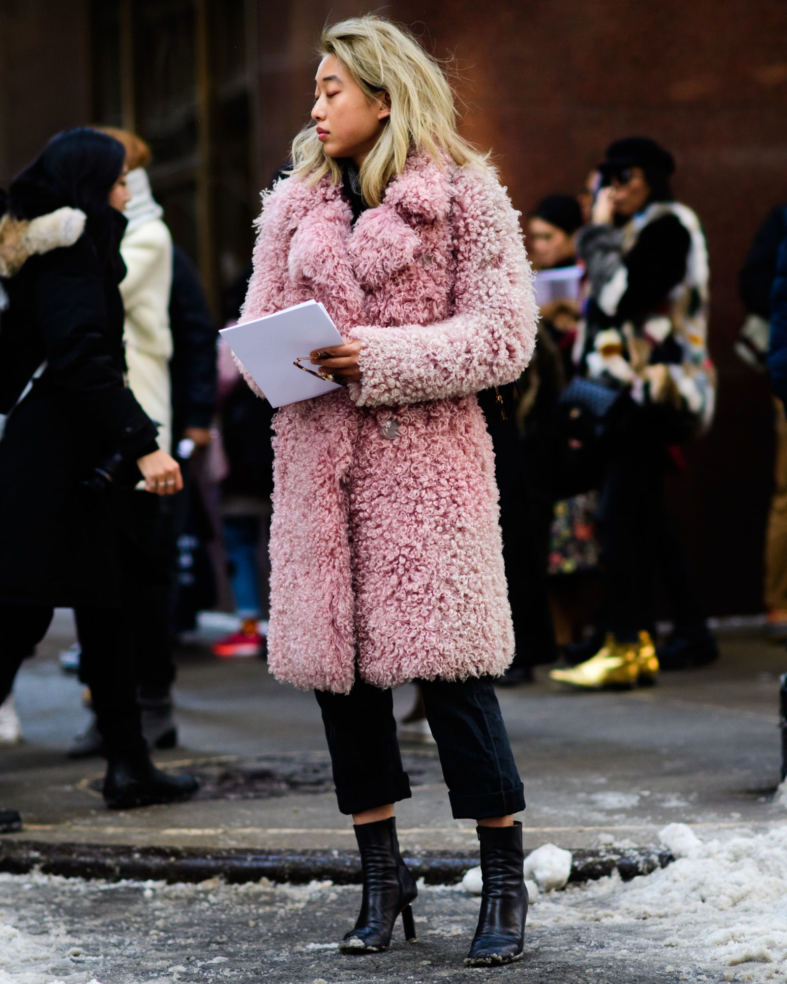 Women's Pink Fur Coat, Black Chinos, Black Leather Ankle Boots ...
