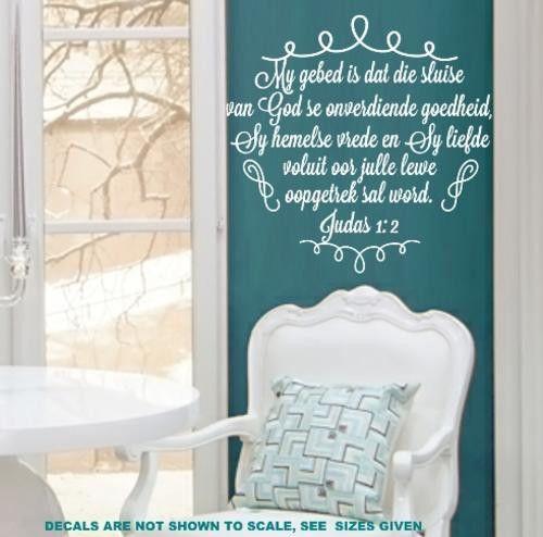 Bybel vers judas 1:2 (afrikaans) inspirational bible verse wall art sticker  sml vinyl decal