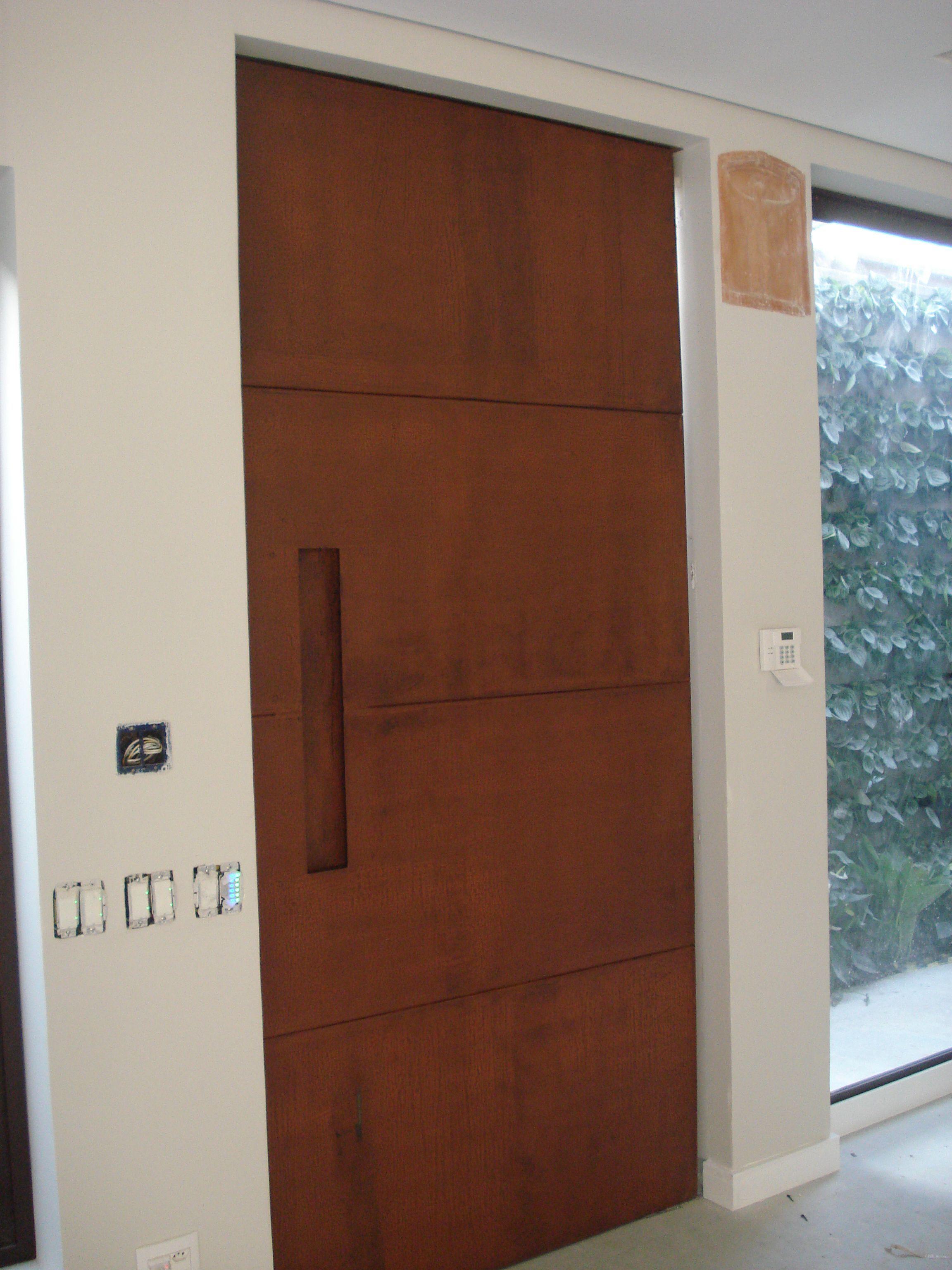 Resultado De Imagem Para Portão Aço Corten Corten Pinterest - Porte placard coulissante jumelé avec porte extérieure blindée