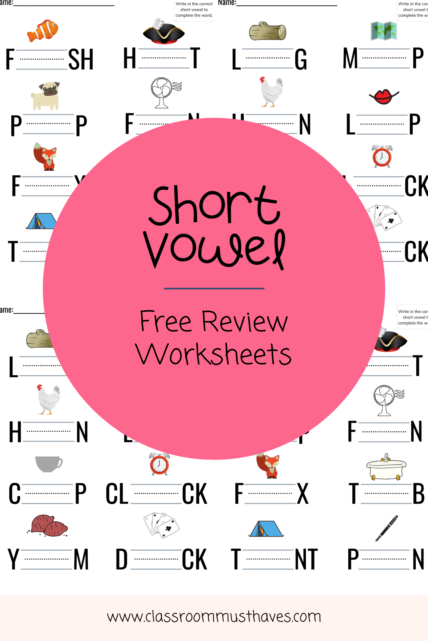 Free Short Vowel Review Worksheets Assroommusthaves