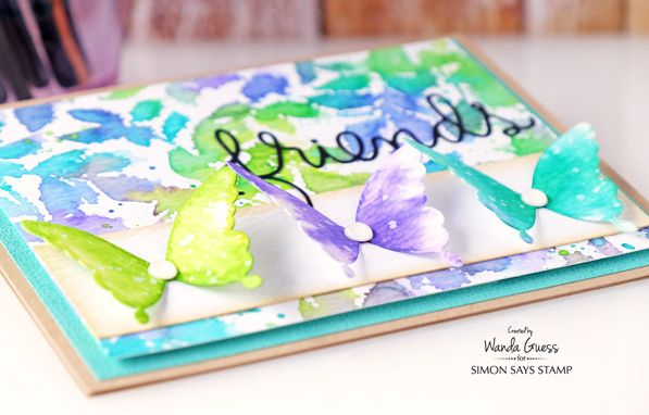 1 Simon Says Stamp Leaves and Butterfly. Watercolor with Distress Inks. Card by Wanda Guess