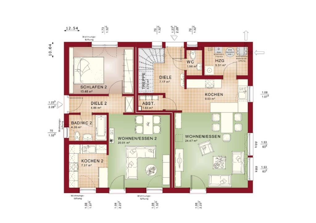 Zweifamilienhaus Grundriss Erdgeschoss - Haus Evolution 208 V5 von - grundriss küche mit kochinsel