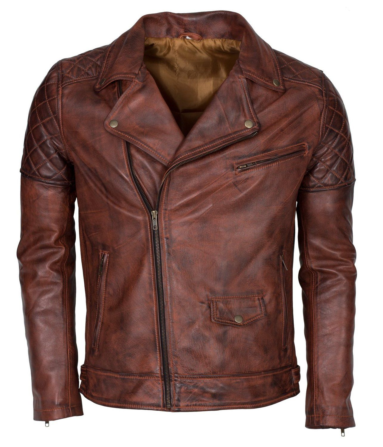 Brown Waxed Brando Designer Italian Leather Jacket at