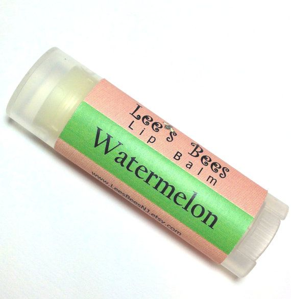 Watermelon Lip Balm  One Tube of All Natural Beeswax by LeesBeesNJ, $3.25