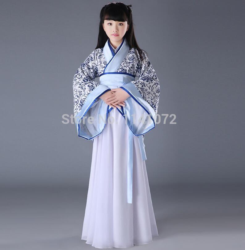 e06e4cbba77 Haute qualité enfant chinois Costume Hanfu vêtements bleu et blanc enfants  vêtements de Costumes de la dynastie Tang enfants des vêtements anciens  dans ...
