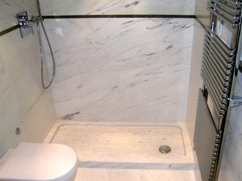 Shower Tray In White Marble Giada White Height Cm 8 Brushed And