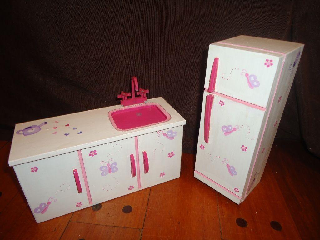 Mesada Con Pileta Y Heladera Para Barbies Muebles Para Mu Ecas  # Muebles Fibrofacil Para Casa Munecas