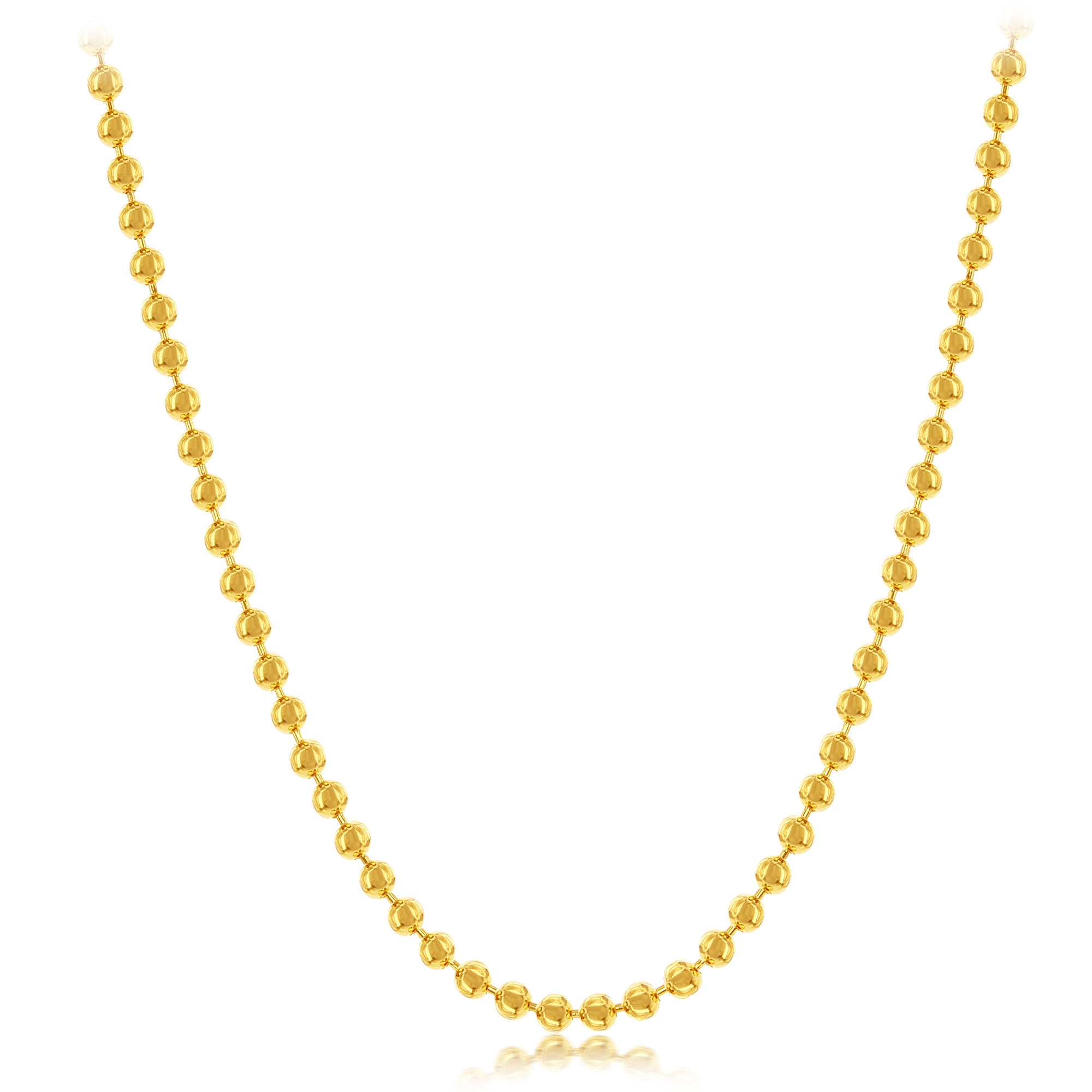 Our Gold Plated Sterling Silver Bead Chain can be worn by itself or