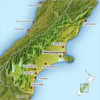 Map Of Canterbury New Zealand.Things To Do In Christchurch South Island New Zealand