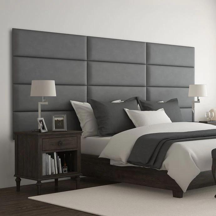 Vant Micro Suede Upholstered Headboard Panels In Grey