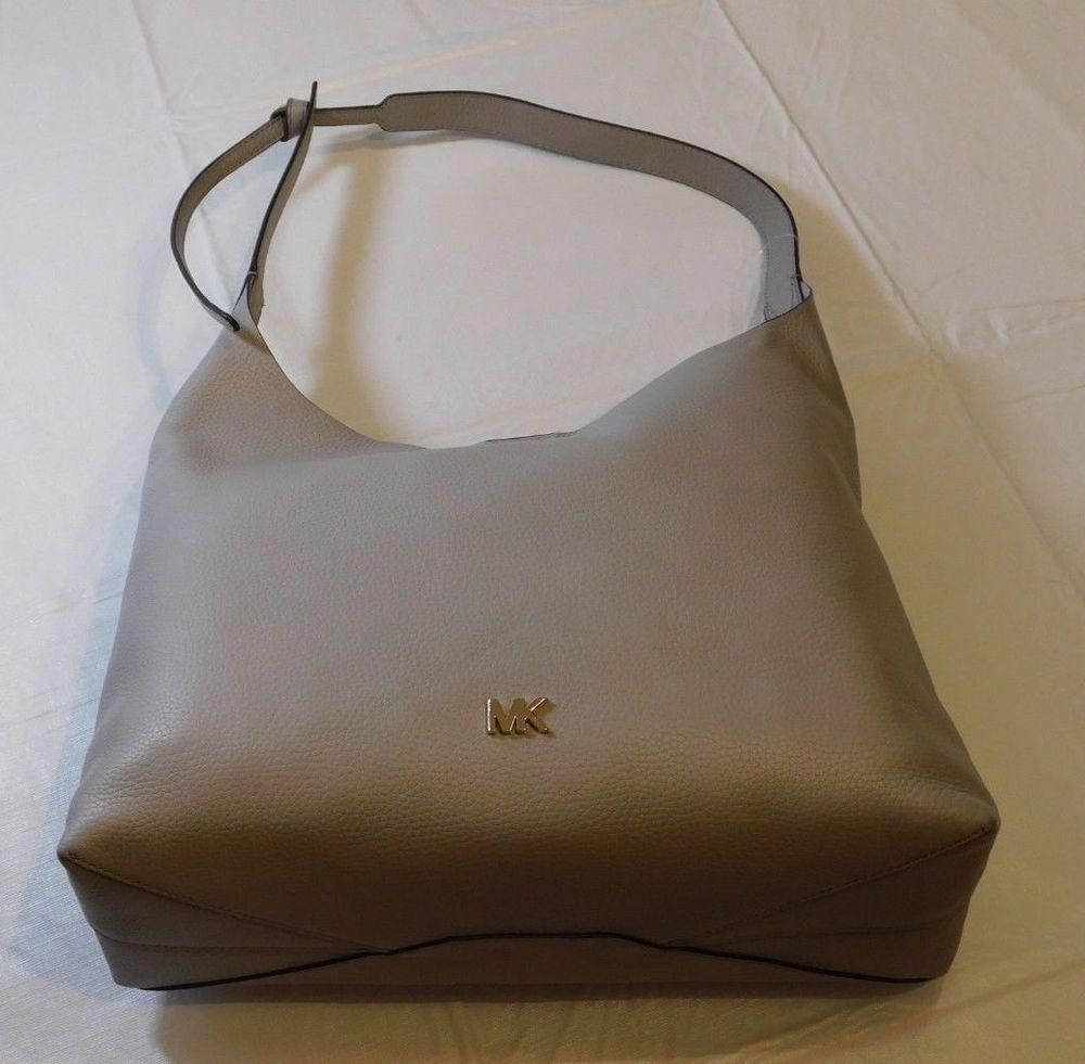 d18937a5e7b0 Michael Kors Junie Medium Hobo Purse Pebbled Leather Pearl Grey Purse Bag  *^ #MichaelKors #Tote