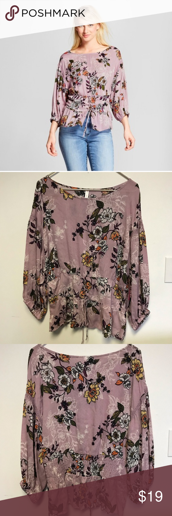 New! Lilac purple boho peasant top blouse floral New with