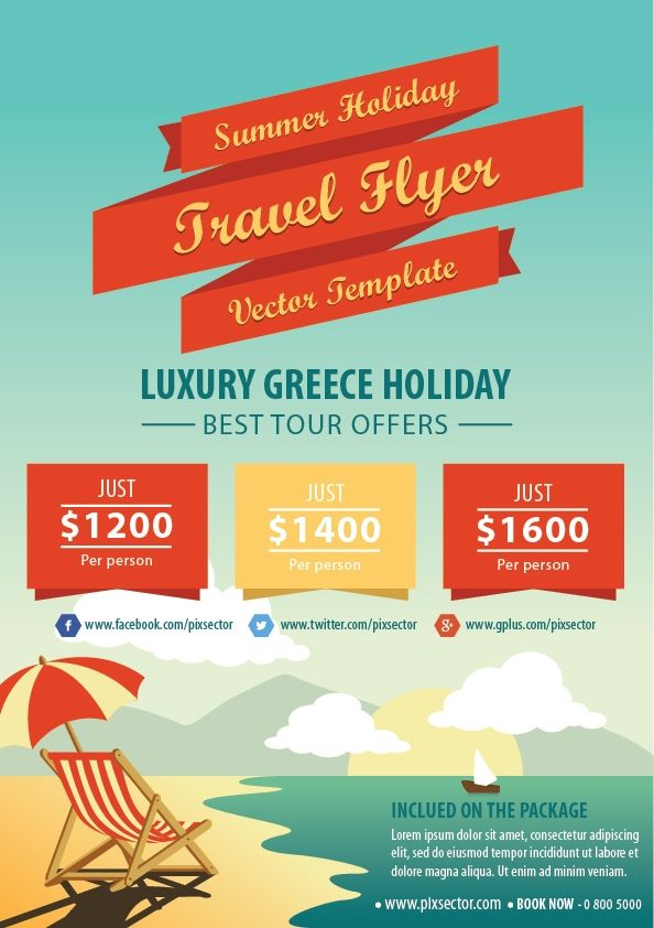 Summer Holiday Travel Flyer Template  Awesome Free Vector
