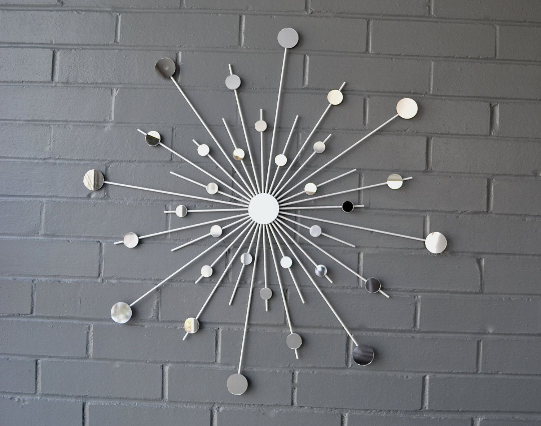24 Inch Metal Starburst Wall Art Sun Mirror Atomic Modern