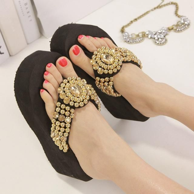 954340d779d7c0 Pearl Crystal 3cm 6cm Heels Fashion ladies slides outdoor beach shoes women  slippers platform summer spring designer 2018 black